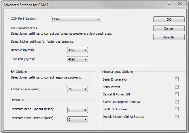 FTDI advanced settings